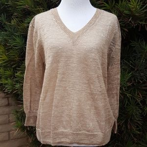 J.Crew Marled Linen Blend V-Neck Sheer Sweater